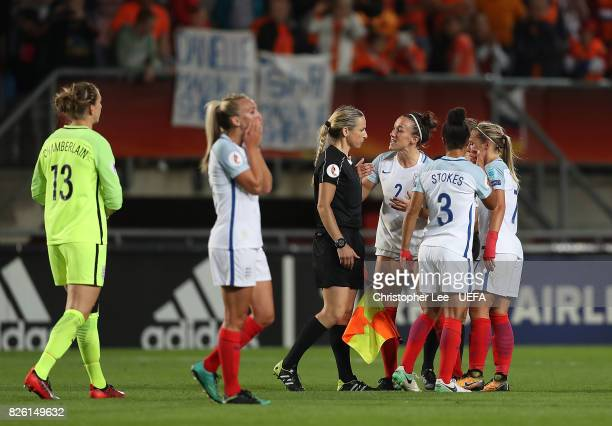 Lucy Bronze of England remonstrates with the officials following the UEFA Women's Euro 2017 Semi Final match between Netherlands and England at De...