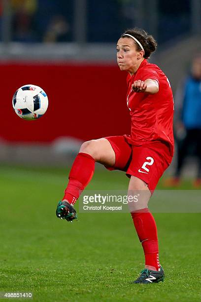 Lucy Bronze of England runs with the ball during the Women's International Friendly match between Germany and England at SchauinslandReisenArena on...