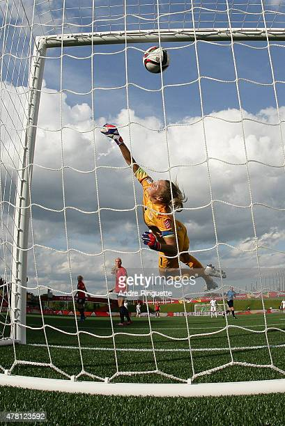 Lucy Bronze of England scores the team's second goal as the ball hits the back of the net behind Ingrid Hjelmseth of Norway during the FIFA Women's...