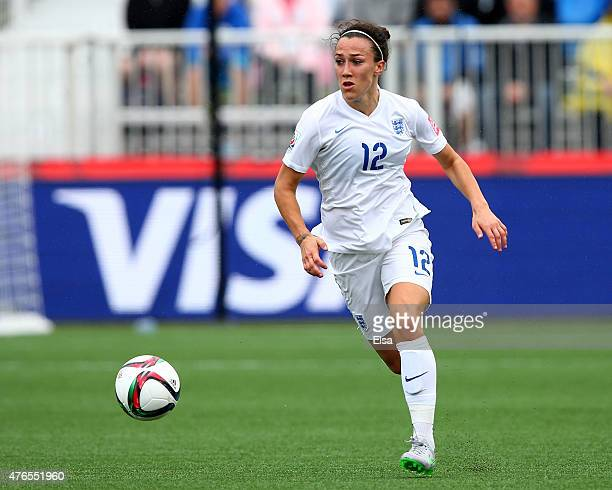 Lucy Bronze of England takes the ball in the first half against France during the FIFA Women's World Cup 2015 Group F match at Moncton Stadium on...