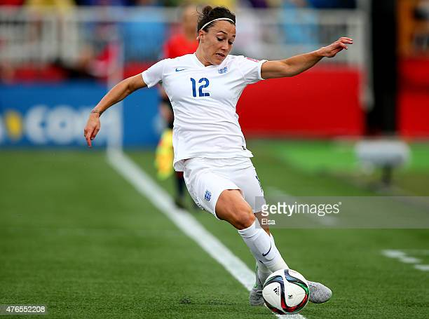 Lucy Bronze of England tries to keep the ball in play in the first half against France during the FIFA Women's World Cup 2015 Group F match at...