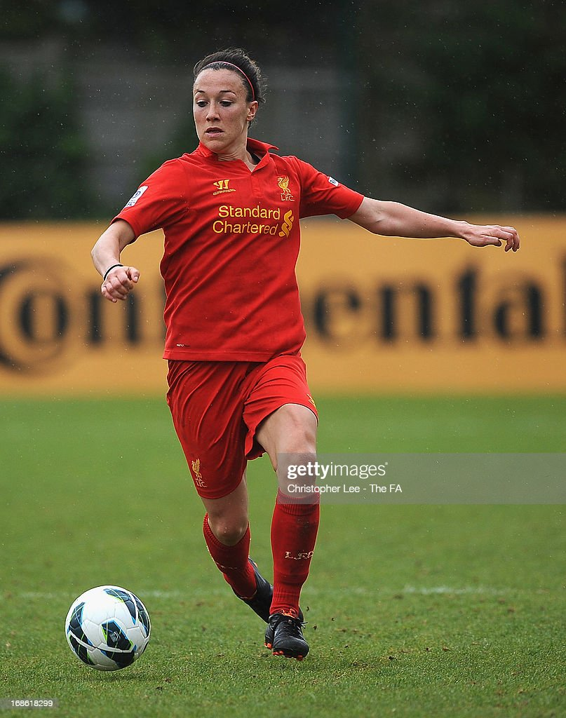 Lucy Bronze of Liverpool during the FA WSL match batween Chelsea Ladies FC and Liverpool Ladies FC at Wheatsheaf Park on May 12, 2013 in Staines, England.