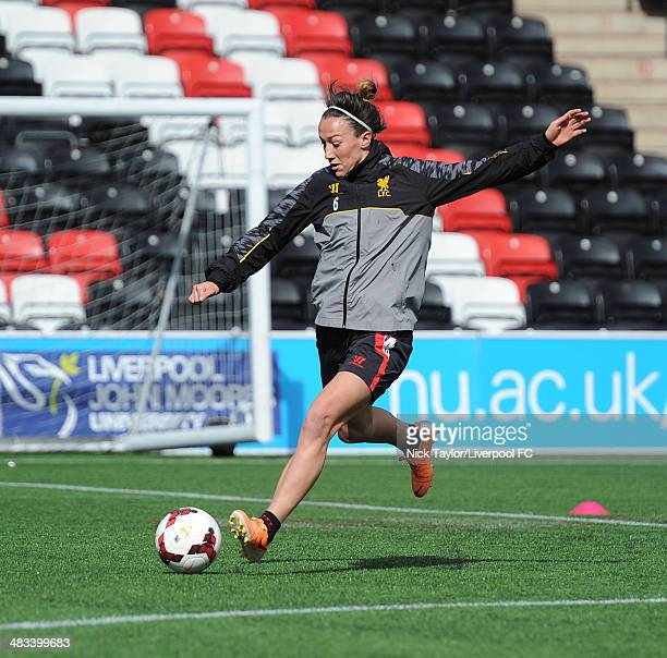 Lucy Bronze of Liverpool Ladies during a preseason training session at Select Security Stadium on March 21 2014 in Widnes England
