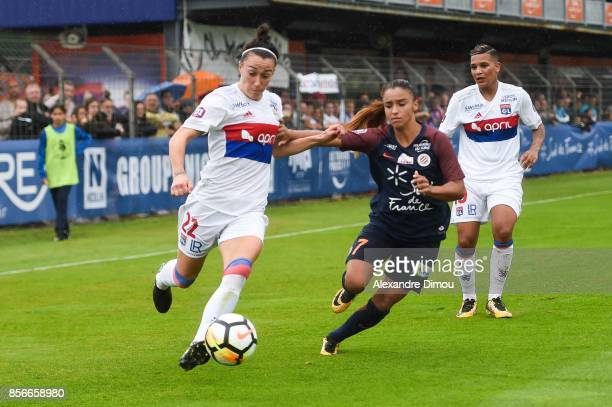 Lucy Bronze of Lyon and Sakina Karchaoui of Montpellier during the women's Division 1 match between Montpellier and Lyon on September 30 2017 in...