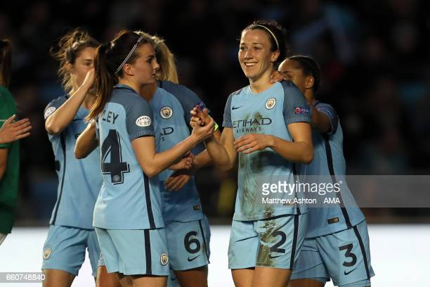 Lucy Bronze of Manchester City celebrates after scoring a goal to make it 10 during the Manchester City v Fortuna match in the UEFA Women's Champions...