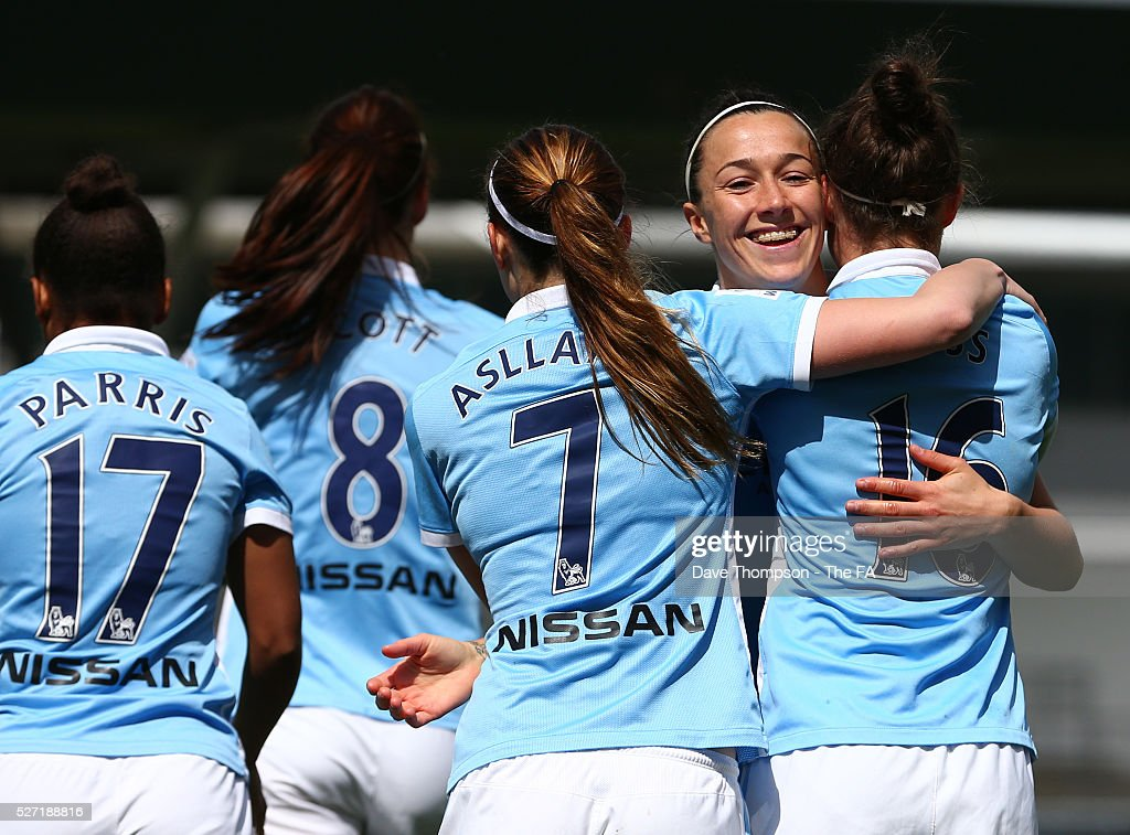 Lucy Bronze of Manchester City Women celebrates scoring during the game between Manchester City Women and Doncaster Belles at the Manchester City Academy Stadium on May 2, 2016 in Manchester, England.