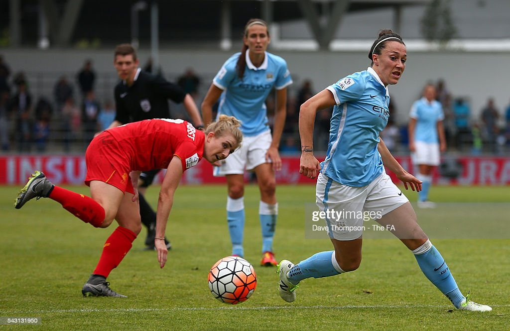 <a gi-track='captionPersonalityLinkClicked' href=/galleries/search?phrase=Lucy+Bronze&family=editorial&specificpeople=5584928 ng-click='$event.stopPropagation()'>Lucy Bronze</a> of Manchester City Women gets away from Kate Longhurst of Liverpool Ladies during the FA WSL match between Manchester City Women and Liverpool Ladies FC on June 26, 2016 in Manchester, England.