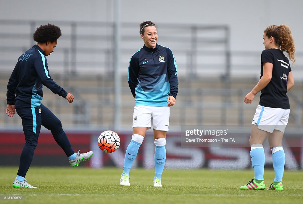 <a gi-track='captionPersonalityLinkClicked' href=/galleries/search?phrase=Lucy+Bronze&family=editorial&specificpeople=5584928 ng-click='$event.stopPropagation()'>Lucy Bronze</a> of Manchester City Women (C) warms up with <a gi-track='captionPersonalityLinkClicked' href=/galleries/search?phrase=Demi+Stokes&family=editorial&specificpeople=6314791 ng-click='$event.stopPropagation()'>Demi Stokes</a>, (L) and Daphne Corboz during the FA WSL match between Manchester City Women and Liverpool Ladies FC on June 26, 2016 in Manchester, England.