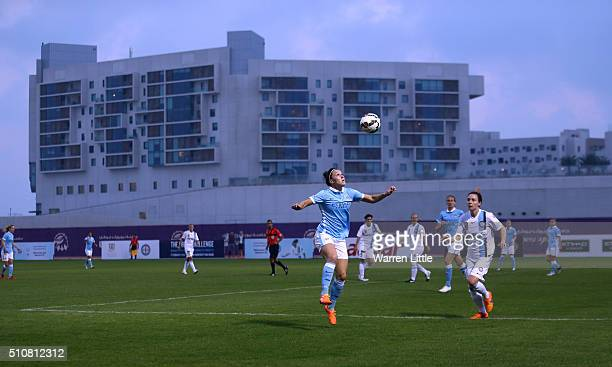 Lucy Bronze of Manchester City Women's FC in action during the Fatima Bint Mubarak Ladies Sports Academy Challenge between Melbourne City Women and...