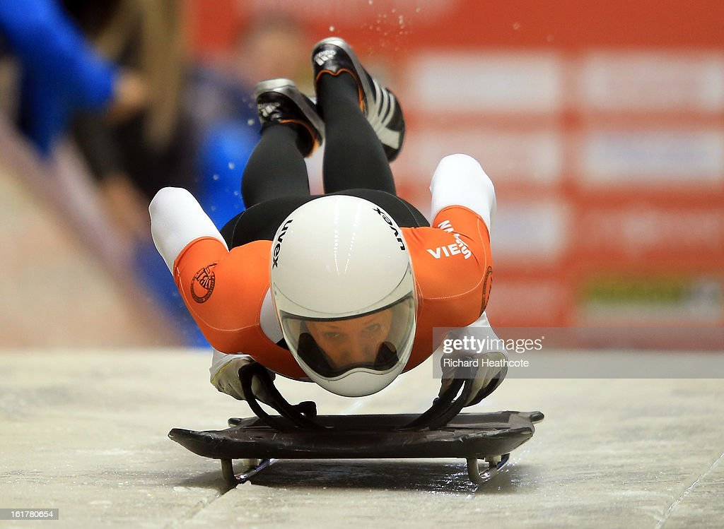 Lucy Chaffer of Australia launches herself down the track during the Women's Skeleton Viessman FIBT Bob & Skeleton World Cup at the Sanki Sliding Center in Krasnya Polyana on February 16, 2013 in Sochi, Russia. Sochi is preparing for the 2014 Winter Olympics with test events across the venues.