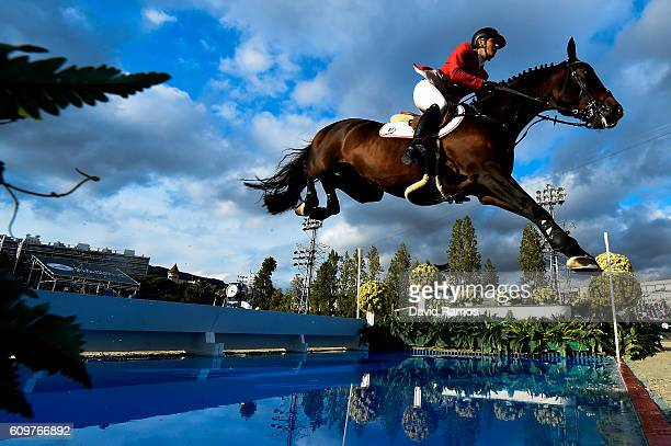 Lucy Davis of The United States rides Barron during the CSIO Barcelona Furusiyya FEI Nations Cup Jumping Final First Round at the Real Club de Polo...