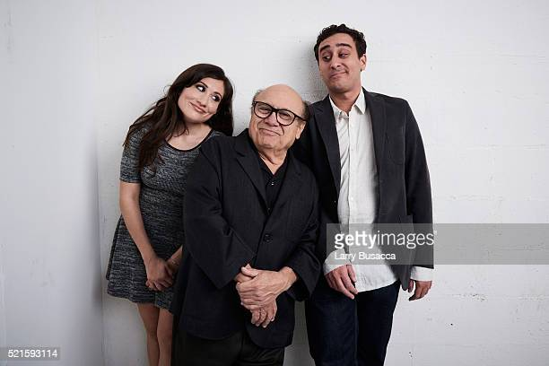 Lucy DeVito Danny DeVito and Jake DeVito from 'Curmudgeons' pose at the Tribeca Film Festival Getty Images Studio on April 15 2016 in New York City