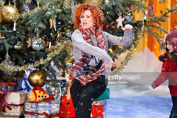 Lucy Diakovska of former pop band No Angels performs during the 'Adventsfest der 100000 Lichter' TV Show at the Congress Centrum Suhl on November 26...