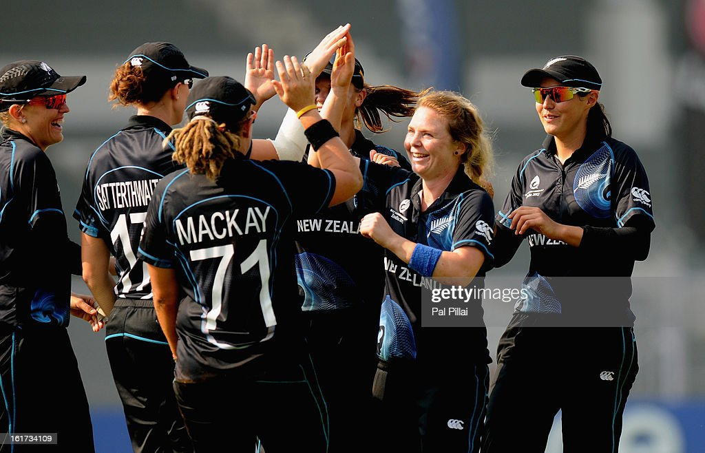 Lucy Doolan of New Zealand celebrates the wicket of Heather Knight of England during the 3rd/4th Place Play-Off game between England and New Zealand held at the CCI (Cricket Club of India) ground on February 15, 2013 in Mumbai, India.
