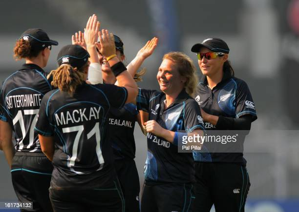 Lucy Doolan of New Zealand celebrates the wicket of Heather Knight of England during the 3rd/4th Place PlayOff game between England and New Zealand...