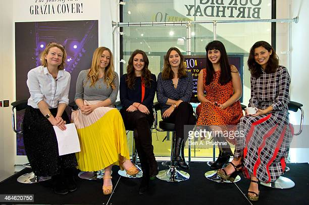 Lucy Dunn Anna Jones Natasha Corrett Ella Woodward Melissa Hemsley and Jasmine Hemsley attends the #Grazia10 talk 'How To Eat Right For Now' with...