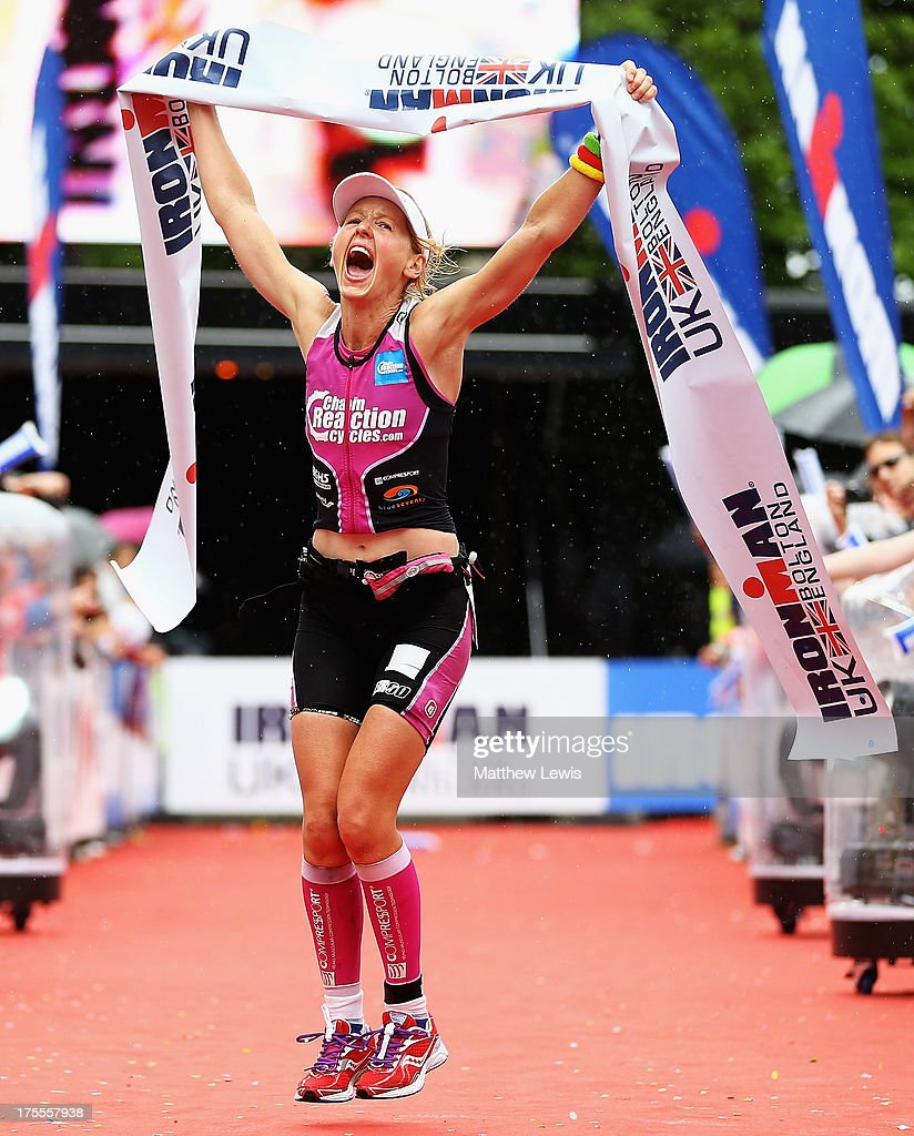 Lucy Gossage celebrates winning the Womens Pro Ironman UK during the Ironman UK on August 4, 2013 in Bolton, England.