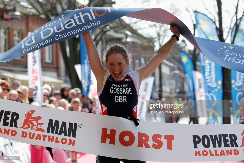 Lucy Gossage of Great Britain celebrates as she crosses the line to win the Gold Medal for the Elite Women Long Distance race during the 2013 Horst ETU Powerman Long Distance and Sprint Duathlon European Championships on April 21, 2013 in Horst, Netherlands.