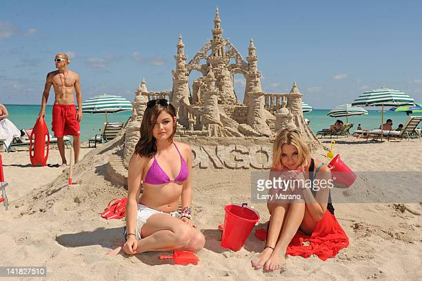Lucy Hale and Ashley Benson visit Bongo Bikini Shack on March 24 2012 in Miami Beach Florida