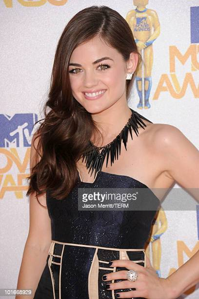 Lucy Hale arrives at the 2010 MTV Movie Awards held at the Gibson Amphitheatre at Universal Studios on June 6 2010 in Universal City California