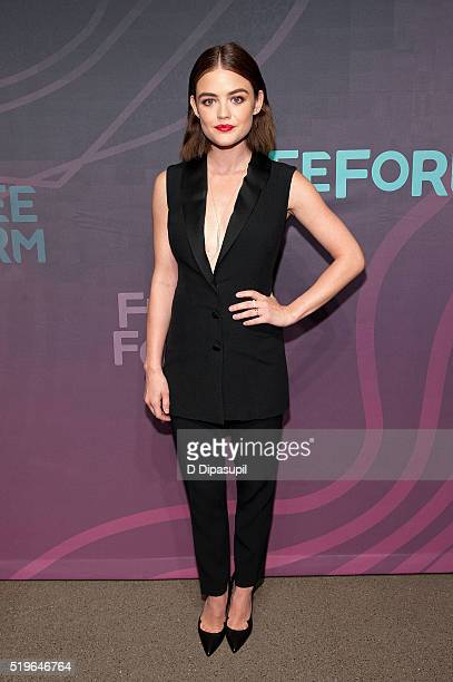 Lucy Hale attends the 2016 ABC Freeform Upfront at Spring Studios on April 7 2016 in New York City