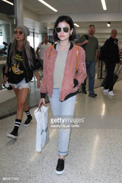 Lucy Hale is seen at LAX on June 04 2017 in Los Angeles California