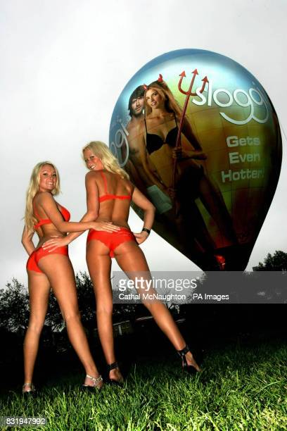Lucy James and Nikki Boyd winners of the sloggi Bot Idol contest pictured in Geraldine Mary Harmsworth Park in London