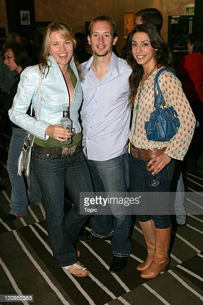 Lucy Lawless Allan Poppleton and Erica Takacs during Russell Crowe and The Ordinary Fear Of God in Concert at Skycity Theatre in Auckland March 31...