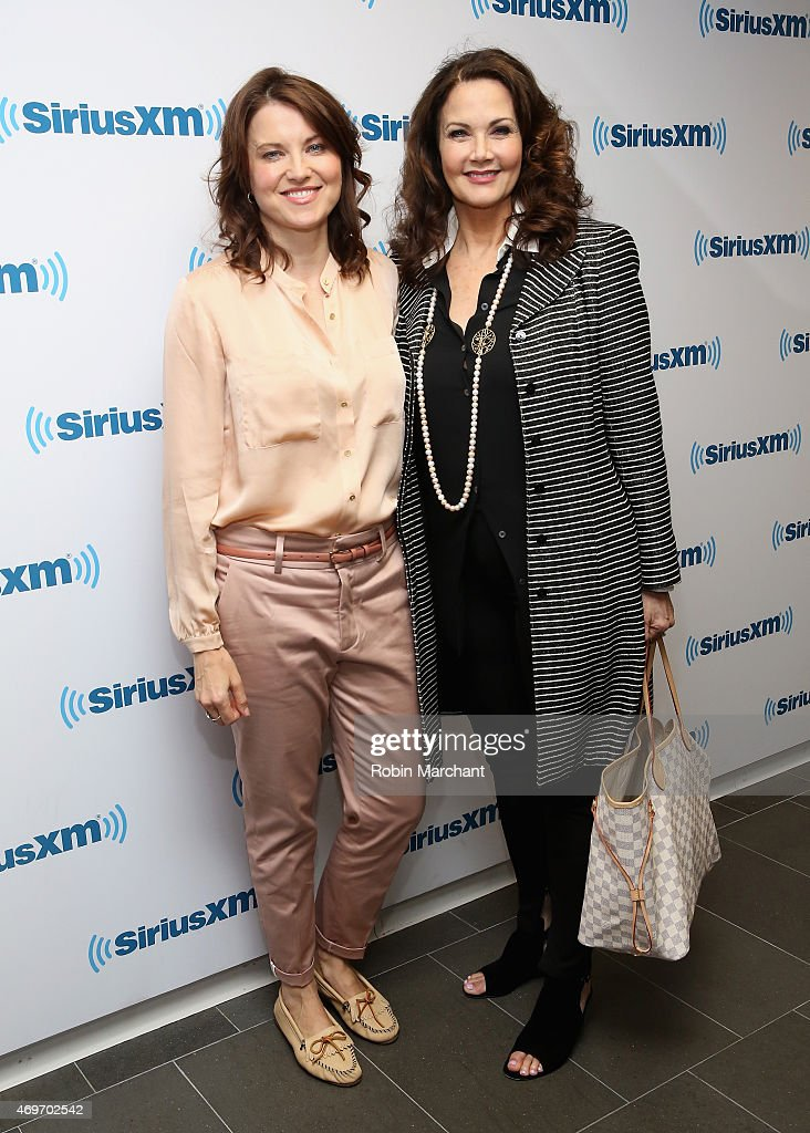 Lucy Lawless (L) and Lynda Carter visit at SiriusXM Studios on April 14, 2015 in New York City.