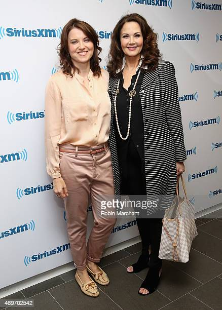 Lucy Lawless and Lynda Carter visit at SiriusXM Studios on April 14 2015 in New York City