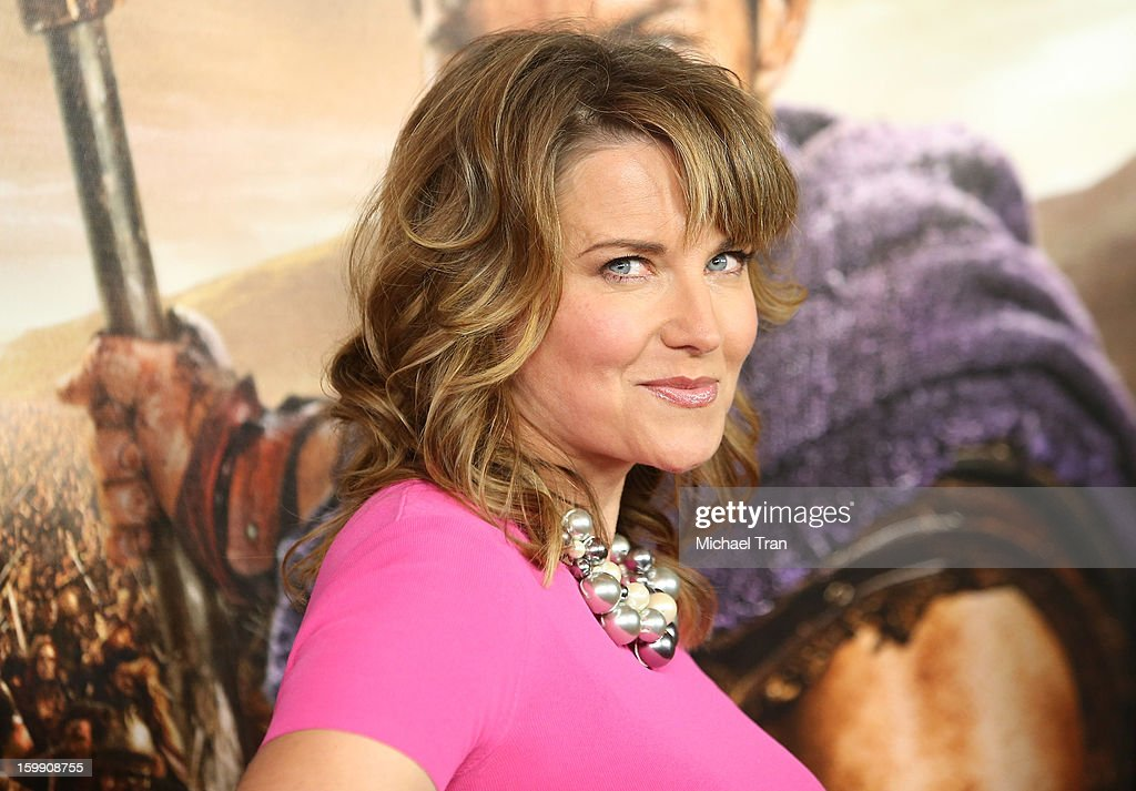 Lucy Lawless arrives at the Los Angeles premiere of 'Spartacus: War Of The Damned' held at Regal Cinemas L.A. LIVE Stadium 14 on January 22, 2013 in Los Angeles, California.