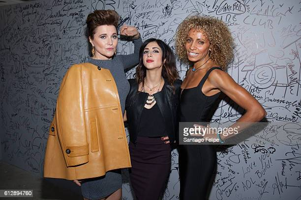 Lucy Lawless Dana Delorenzo and Michelle Hurd attend The Build Series to discuss the TV show 'Ash vs Evil Dead' at AOL HQ on October 5 2016 in New...
