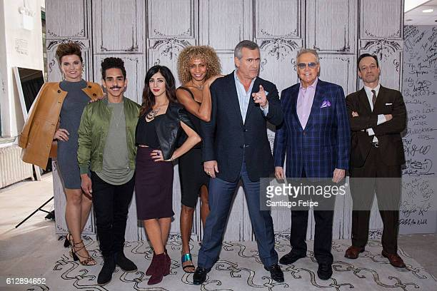 Lucy Lawless Ray Santiago Dana Delorenzo Michelle Hurd Bruce Campbell Lee Majors and Ted Raimi attend The Build Series to discuss the TV show 'Ash vs...