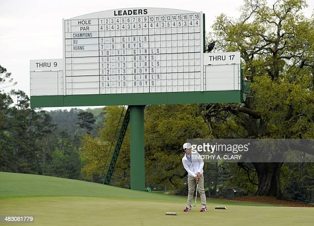 Lucy Li from Redwood City California putts during the National Finals of the 2014 Drive Chip and Putt Championships April 6 2014 at Augusta National...