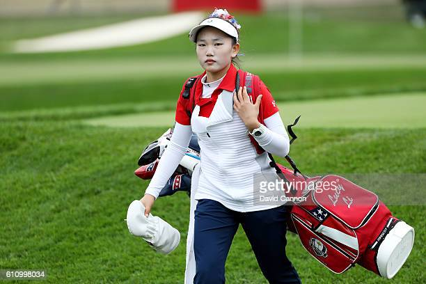 Lucy Li of the United States looks on during the Junior Ryder Cup Friendship Matches prior to the 2016 Ryder Cup at Hazeltine National Golf Club on...