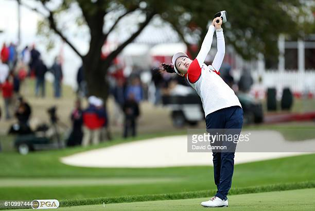 Lucy Li of the United States plays a shot during the Junior Ryder Cup Friendship Matches prior to the 2016 Ryder Cup at Hazeltine National Golf Club...