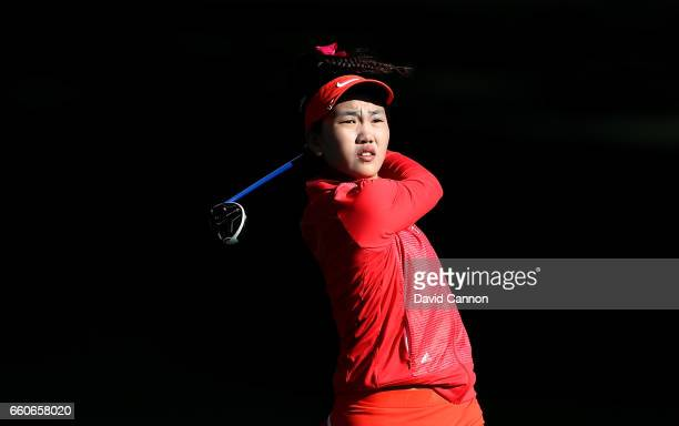 Lucy Li of the United States the 14yr old amateur qualifier plays her second shot on the par 5 second hole during the first round of the 2017 ANA...