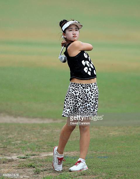 Lucy Li of the USA the 11 year old amateur plays her second shot to the par 5 10th hole during the second round of the 69th US Women's Open at...