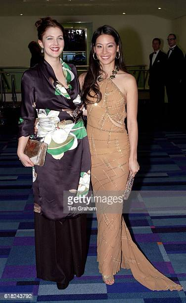 Lucy Liu and Drew Barrymore at Charlies' Angels Film Premiere Full length Happy Smiling Actors Actresses