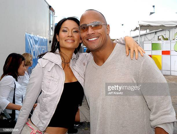 Lucy Liu and Dwayne The Rock Johnson during Nickelodeon's 16th Annual Kids' Choice Awards 2003 Backstage at Barker Hangar in Santa Monica CA United...
