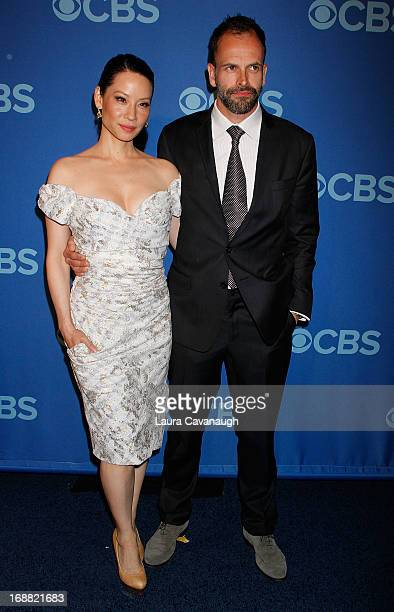 Lucy Liu and Jonny Lee Miller attend the 2013 CBS Upfront at The Tent at Lincoln Center on May 15 2013 in New York City