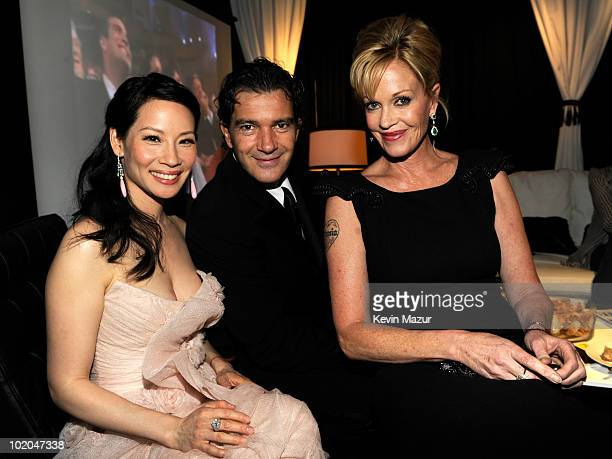 NEW YORK JUNE 13 Lucy Liu Antonio Banderas and Melanie Griffith in the green room at the 64th Annual Tony Awards at Radio City Music Hall on June 13...