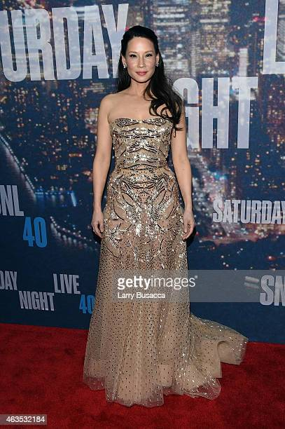 Lucy Liu attends SNL 40th Anniversary Celebration at Rockefeller Plaza on February 15 2015 in New York City