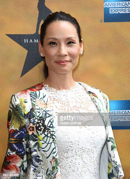 Lucy Liu attends the Broadway opening night performance of'Hamilton' at the Richard Rodgers Theatre on August 6 2015 in New York City
