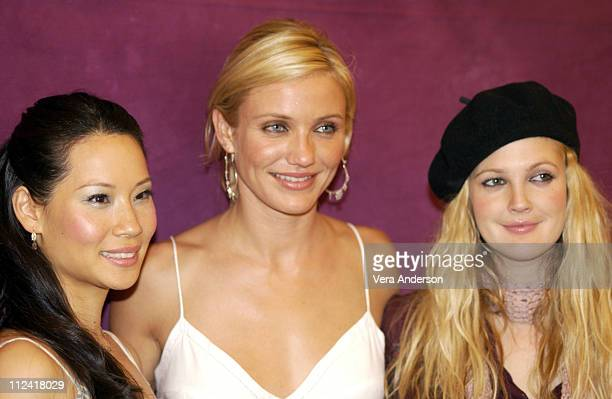 Lucy Liu Cameron Diaz and Drew Barrymore during 'Charlie's Angels Full Throttle' Press Conference with Cameron Diaz Drew Barrymore Lucy Liu and McG...