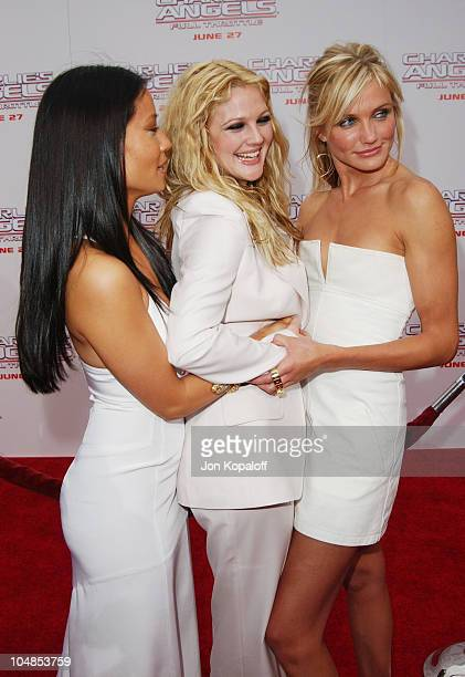 Lucy Liu Drew Barrymore and Cameron Diaz during Premiere of 'Charlie's Angels Full Throttle' at Grauman's Chinese Theatre in Hollywood California...
