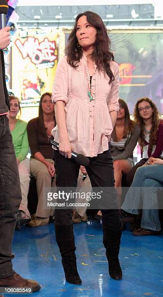 Lucy Liu during Lucy Liu Josh Hartnett and Rob Schneider Visit MTV's 'TRL' April 6 2006 at MTV Studios Times Square in New York City New York United...