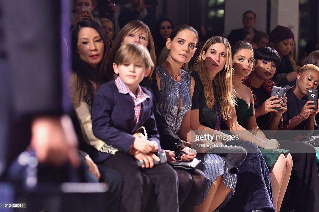 Lucy Liu Jasper Weinberg Jane Rosenthal Katie Holmes Scout Willis Odeya Rush Jennifer Hudson and Cynthia Erivo attend the Zac Posen Fall 2016 fashion...