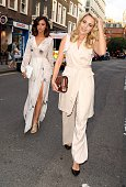 Lucy Mecklenburgh and Lydia Bright attending the Impossible press night at the Noel Coward Theatre on July 30 2015 in London England