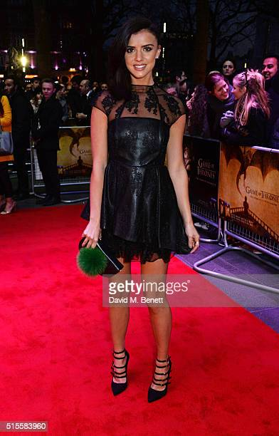 Lucy Mecklenburgh arrives for a Gala Screening of 'Game of Thrones' Season 5 Episode 8 'Hardhome' at Empire Leicester Square on March 14 2016 in...